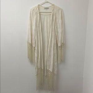 Beautiful cream kimono w/macrame bottom and sleeve